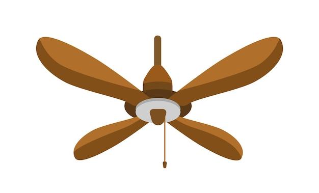 Flache vektorillustration des deckenventilators. hängender hölzerner sich drehender propeller. sommer-heißluftkühlungswerkzeug isoliert auf weißem hintergrund. wetterkontrollgerät. klimaanlage haushaltsgeräte.