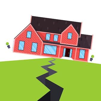 Flache vektorillustration des erdbebenhausversicherungskonzeptes