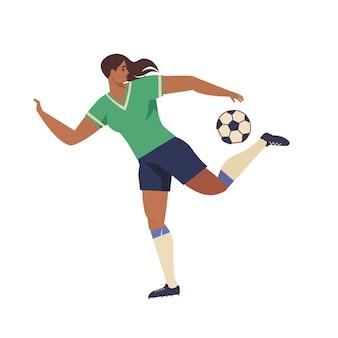 Flache vektorillustration des europäischen fußballfußballspielers der frauen.