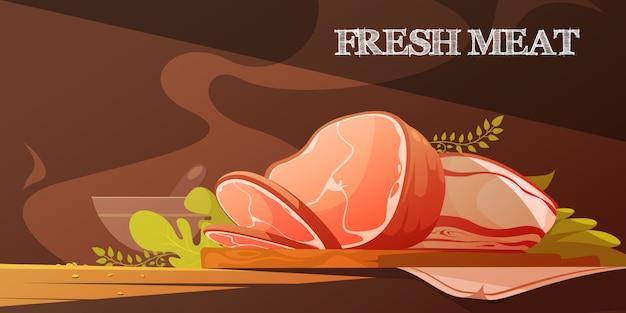 Flache vektorillustration des frischen fleisches in der karikaturart mit köstlicher scheibe speck