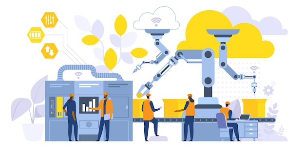 Flache vektorillustration des herstellungsprozesses. fabrikarbeiter, ingenieur, der mit computerzeichentrickfiguren arbeitet. hightech-robotermaschinen. smart industry, steuerung des produktionsbetriebs