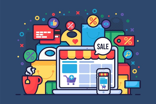 Flache vektorillustration des internet-shoppings. e-commerce-zubehör, online-shop, e-trading-geschäft