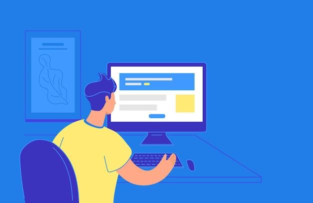 Flache vektorillustration des jungen mannes, der mit pc sitzt und mit website-webschablone arbeitet