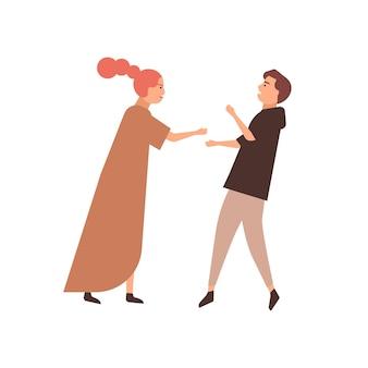 Flache vektorillustration des jungen paares. familienkonflikt, zankendes paar, streitender mann und frau. beziehungsprobleme, verständnismangelkonzept. kämpfende zeichentrickfiguren für mann und frau.
