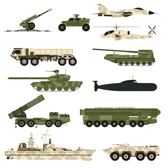 Flache vektorillustration des militärtechniksatzes und der rüstungsbehälter.
