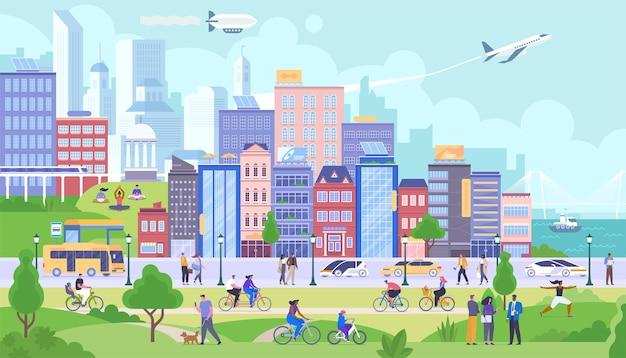 Flache vektorillustration des modernen stadtpanoramas. glückliche bürger zeichentrickfiguren. lächelnde menschen ruhen im öffentlichen park. glückliches stadtleben, verschiedene aktivitäten, freizeit. gebäude und transport