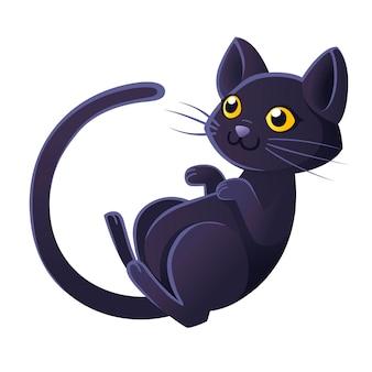 Flache vektorillustration des niedlichen entzückenden schwarzen katzenkarikaturtierdesigns auf weißem hintergrund auch im corel abgehobenen betrag.