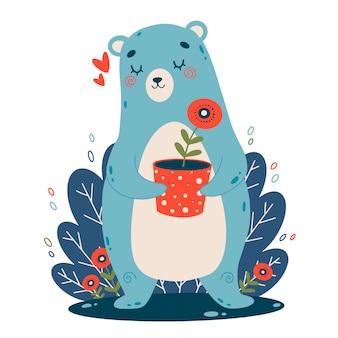 Flache vektorillustration des niedlichen karikaturblaubären mit der roten blume in einem topf. farbabbildung des bären mit mohnblume im gekritzelstil.