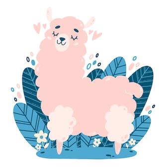Flache vektorillustration des niedlichen rosa lama der karikatur. farbabbildung eines lamas im gekritzelstil.