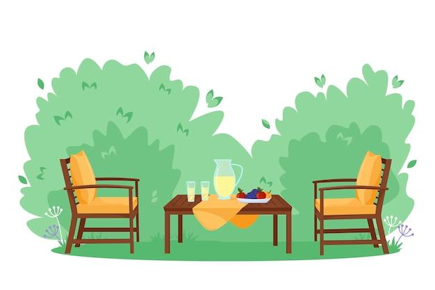 Flache vektorillustration des patiobereichs karikaturtisch und -stühle moderne möbel des gartens