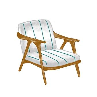 Flache vektorillustration des retro-sessels. vintage holzstuhl mit blau gestreifter polsterung auf weißem hintergrund. stilvolles zeitgenössisches möbelstück. trendiges wohnkultur-designelement.