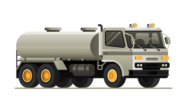 Flache vektorillustration des tankwagens fahrzeug