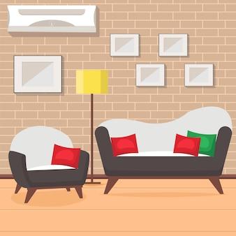 Flache vektorillustration des wohnzimmerdesigns.