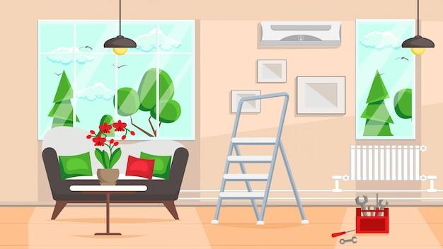 Flache vektorillustration des wohnzimmerreparaturdesigns