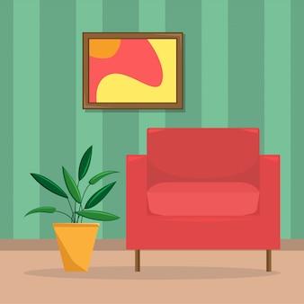 Flache vektorillustration des wohnzimmers mit einem sessel und einer blume in einem cachepot.