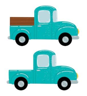 Flache vektorillustration eines niedlichen grünen pickup-lkw-satzes der karikatur lokalisiert auf weiß