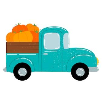 Flache vektorillustration eines niedlichen karikatur-grünen auto-pickups mit orangefarbenen kürbissen.