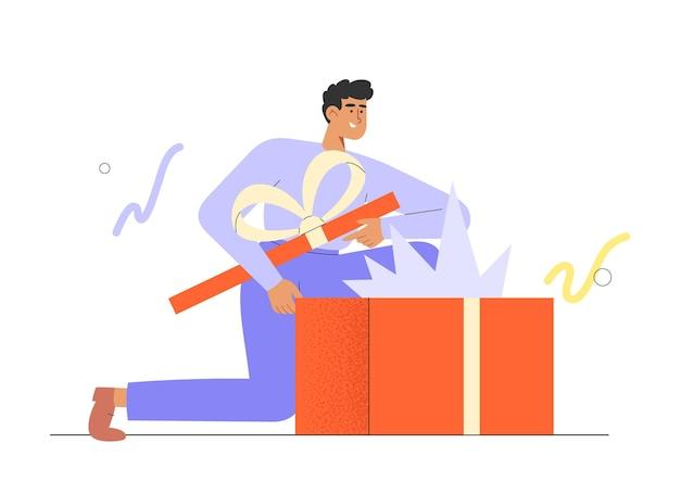Flache vektorillustration mit männlichem charakter, der ein urlaubsüberraschungsgeschenk öffnet
