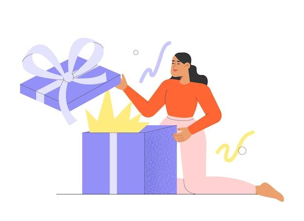 Flache vektorillustration mit weiblicher figur, die ein urlaubsüberraschungsgeschenk öffnet