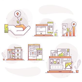 Flache vektorillustration von design- und entwicklungskonzepten