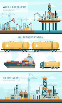 Flache vektorillustrationen der ölgasindustrietechnologie. karikatur infografik verarbeitung benzin