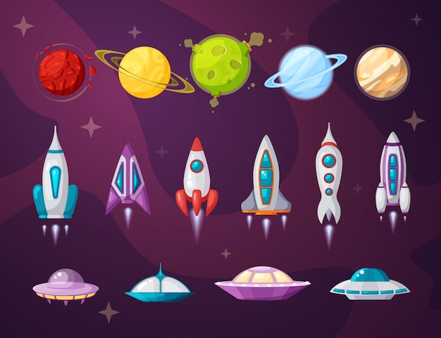 Flache vektorillustrationen des kosmos und des ufo gesetzt