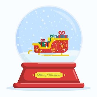 Flache vektorillustrations-schneekugel mit weihnachtsmann-schlitten und geschenken frohe weihnachten