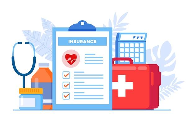 Flache vektorillustrationsfahne und zielseite des krankenversicherungskonzeptes