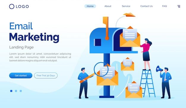Flache vektorschablone der e-mail-marketing-landungsseitenwebsite-illustration
