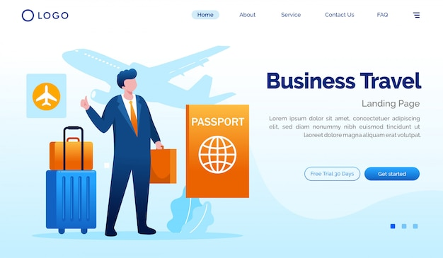 Flache vektorschablone der geschäftsreiselandungsseiten-websiteillustration