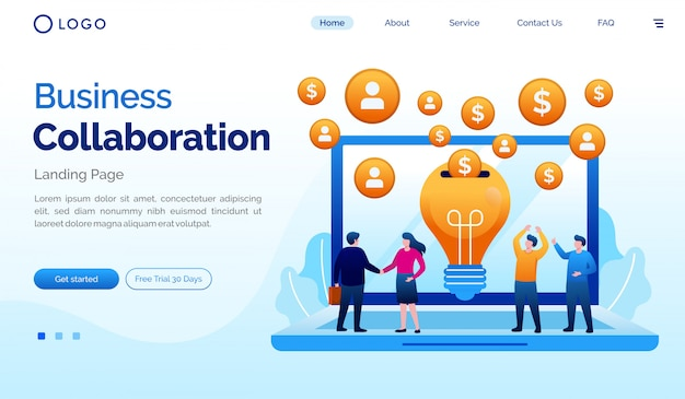 Flache vektorschablone der geschäftszusammenarbeitslandungsseiten-websiteillustration