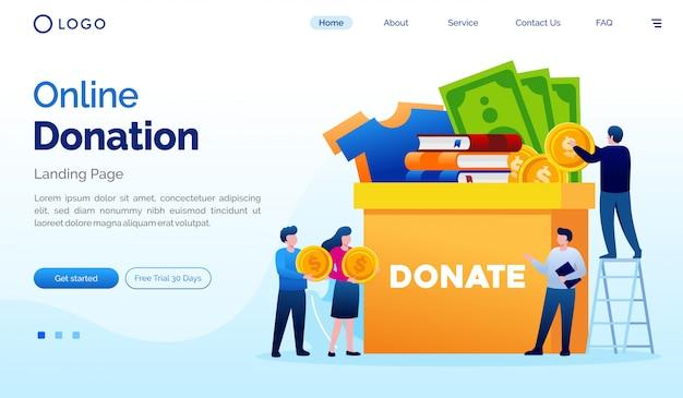 Flache vektorschablone der on-line-spendenlandungsseitenwebsite-illustration