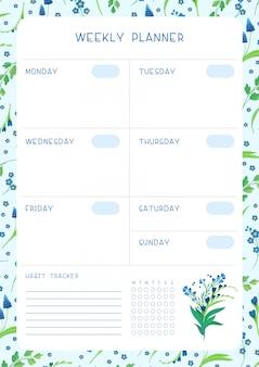Flache vektorschablone des wochenzeitplans und der blauen wildblumen des gewohnheitsverfolgers. kalendervorlage mit blumenblüten und blütenblättern auf weiß