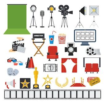 Flache vektorsymbole für kino und videoproduktion isoliert auf weißem hintergrund.