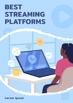 Flache vektorvorlage für beste streaming-plattformen. lehrvideo. broschüre, broschüre, einseitiges konzeptdesign mit zeichentrickfiguren. online-lernservice-flyer, faltblatt mit textfreiraum