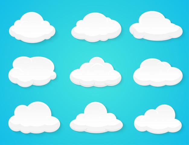 Flache vektorwolken verziert lokalisiert