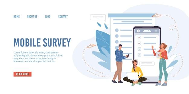 Flache vektorzeichentrickfiguren, die online-umfragen, tests, prüfungen und ergebnisse auf bildschirm-mobiltelefongeräten, monitoren bestehen - gebrauchsfertiges web-online-site-design, bildungs- und prüfungskonzept