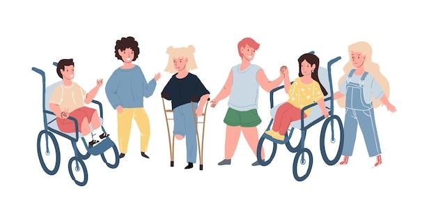 Flache vektorzeichentrickfiguren, glücklich lächelnde kinder mit behinderungen