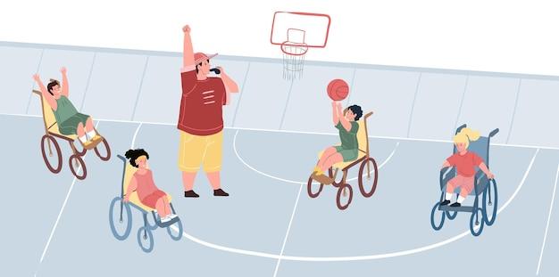 Flache vektorzeichentrickfiguren, glücklich lächelnde kindersportler mit behinderungen