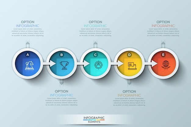 Flache verbindungszeitleiste infografik mit fünf optionen