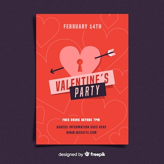 Flache verriegelung valentine party poster