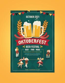 Flache vertikale design oktoberfest-plakatschablone