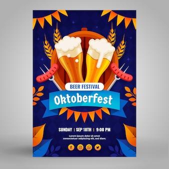 Flache vertikale flyer-vorlage für das oktoberfest