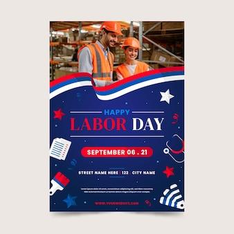 Flache vertikale flyer-vorlage für den arbeitstag mit foto