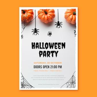 Flache vertikale halloween-party-flyer-vorlage mit foto