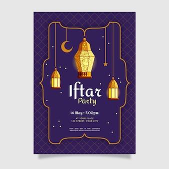 Flache vertikale iftar-plakatschablone
