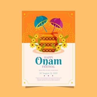 Flache vertikale indische onam-plakatvorlage