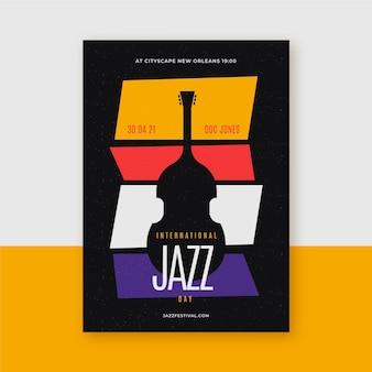 Flache vertikale plakatschablone des internationalen jazz-tages