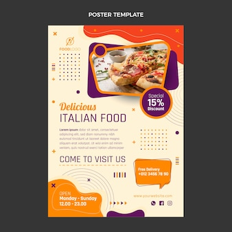 Flache vertikale plakatschablone des italienischen essens