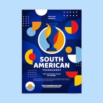 Flache vertikale plakatschablone des südamerikanischen fußballs